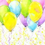 Ζωηρόχρωμα μπαλόνια μυγών και υπόβαθρο γενεθλίων διανυσματική απεικόνιση