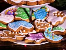 Ζωηρόχρωμα μπισκότα Χριστουγέννων μελοψωμάτων στην τοποθετημένη στη σειρά στάση μπισκότων Στοκ Φωτογραφίες