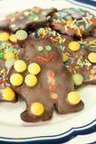 Ζωηρόχρωμα μπισκότα Χριστουγέννων σοκολάτας Στοκ εικόνα με δικαίωμα ελεύθερης χρήσης