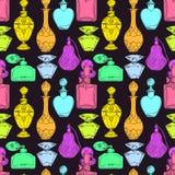 Ζωηρόχρωμα μπουκάλια αρώματος των άνευ ραφής γυναικών διανυσματική απεικόνιση