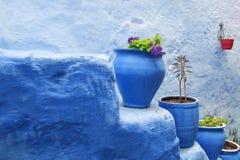 Ζωηρόχρωμα μπλε δοχεία λουλουδιών Στοκ Φωτογραφίες