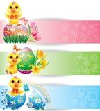 Ζωηρόχρωμα οριζόντια εμβλήματα Πάσχας με το κοτόπουλο Στοκ Εικόνες