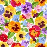 ζωηρόχρωμα λουλούδια ανασκόπησης άνευ ραφής επίσης corel σύρετε το διάνυσμα απεικόνισης απεικόνιση αποθεμάτων