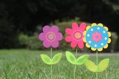 Ζωηρόχρωμα λουλούδια με την πράσινη στάση φύλλων στην πράσινη χλόη ενός κήπου Στοκ φωτογραφίες με δικαίωμα ελεύθερης χρήσης