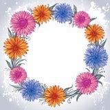 Ζωηρόχρωμα λουλούδια που σχεδιάζονται σε έναν κύκλο Στοκ Εικόνα