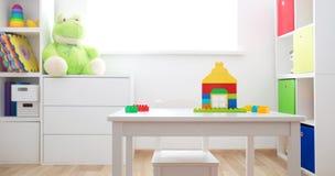 Ζωηρόχρωμα παιδιά rooom με τους άσπρους τοίχους και τα έπιπλα στοκ εικόνα