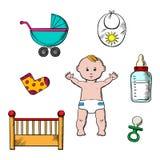 Ζωηρόχρωμα παιδαριώδη και εικονίδια μωρών Στοκ εικόνα με δικαίωμα ελεύθερης χρήσης