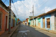 Ζωηρόχρωμα παραδοσιακά σπίτια στην αποικιακή πόλη του Τρινιδάδ στην Κούβα, μια περιοχή παγκόσμιων κληρονομιών της ΟΥΝΕΣΚΟ Στοκ Εικόνα