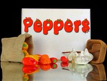 Ζωηρόχρωμα πιπέρια με το σκόρδο Στοκ εικόνα με δικαίωμα ελεύθερης χρήσης
