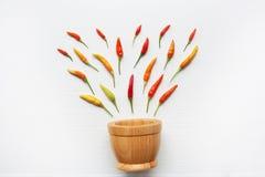 Ζωηρόχρωμα πιπέρια τσίλι με το ξύλινο κονίαμα Στοκ φωτογραφία με δικαίωμα ελεύθερης χρήσης