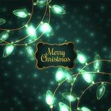 Ζωηρόχρωμα πράσινα φω'τα Χριστουγέννων πυράκτωσης Στοκ εικόνες με δικαίωμα ελεύθερης χρήσης