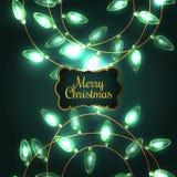 Ζωηρόχρωμα πράσινα φω'τα Χριστουγέννων πυράκτωσης Στοκ φωτογραφίες με δικαίωμα ελεύθερης χρήσης