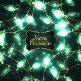 Ζωηρόχρωμα πράσινα φω'τα Χριστουγέννων πυράκτωσης Στοκ εικόνα με δικαίωμα ελεύθερης χρήσης