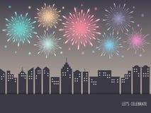 Ζωηρόχρωμα πυροτεχνήματα πέρα από τη εικονική παράσταση πόλης διανυσματική απεικόνιση