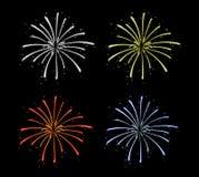 Ζωηρόχρωμα πυροτεχνήματα που απομονώνονται στο καθαρό σκοτεινό υπόβαθρο Εορταστική διακόσμηση εορτασμού διανυσματική απεικόνιση