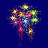Ζωηρόχρωμα πυροτεχνήματα προς τιμή την ημέρα νίκης σε μια μπλε απεικόνιση υποβάθρου Στοκ Εικόνα