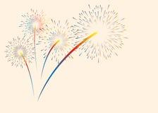 Ζωηρόχρωμα πυροτεχνήματα χρώματος Διανυσματική απεικόνιση για τα Χριστούγεννα, το νέο έτος, την επέτειο και άλλες διακοπές τοποθε ελεύθερη απεικόνιση δικαιώματος