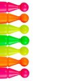 Ζωηρόχρωμα πλαστικά παιχνίδια στο λευκό Στοκ φωτογραφία με δικαίωμα ελεύθερης χρήσης
