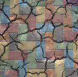 Ζωηρόχρωμα ραγισμένα τούβλα Στοκ Εικόνες