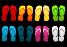 ζωηρόχρωμα σανδάλια παραλιών διανυσματική απεικόνιση