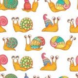 Ζωηρόχρωμα σαλιγκάρια στο ύφος κινούμενων σχεδίων Στοκ φωτογραφία με δικαίωμα ελεύθερης χρήσης