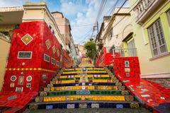 Ζωηρόχρωμα σκαλοπάτια Selaron στο κέντρο Ρίο ντε Τζανέιρο Στοκ Εικόνες