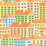 Ζωηρόχρωμα σπίτια - άνευ ραφής πρότυπο Στοκ Εικόνα