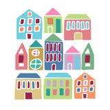 Ζωηρόχρωμα σπίτια κινούμενων σχεδίων Στοκ Εικόνες
