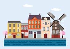 Ζωηρόχρωμα σπίτια με τον ανεμόμυλο, τα ανθίζοντας δέντρα και τη θάλασσα Κάτω Χώρες, ολλανδική πόλη Επίπεδο σχέδιο, διανυσματική α Στοκ Εικόνα