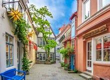 Ζωηρόχρωμα σπίτια σε διάσημο Schnoorviertel στη Βρέμη, Γερμανία στοκ φωτογραφίες με δικαίωμα ελεύθερης χρήσης