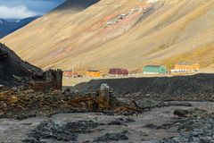 Ζωηρόχρωμα σπίτια σε Nybyen - Longyearbyen Svalbard Στοκ Εικόνα