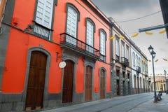 Ζωηρόχρωμα σπίτια στην παλαιά πόλη Arucas Θλγραν θλθαναρηα, Κανάρια νησιά Στοκ Εικόνα