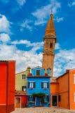 Ζωηρόχρωμα σπίτια στο Burano, Βενετία, Ιταλία Στοκ Φωτογραφία
