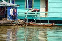 Ζωηρόχρωμα σπίτια, σφρίγος Tonle, Καμπότζη Στοκ εικόνα με δικαίωμα ελεύθερης χρήσης