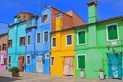 Ζωηρόχρωμα σπίτια, Burano, Βενετία, Ιταλία Στοκ Εικόνες