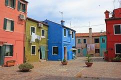 Ζωηρόχρωμα σπίτια, Burano, Βενετία, Ιταλία Στοκ εικόνες με δικαίωμα ελεύθερης χρήσης