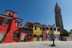 Ζωηρόχρωμα σπίτια Burano Βενετία Στοκ εικόνα με δικαίωμα ελεύθερης χρήσης