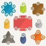 Ζωηρόχρωμα σπειροειδή εικονίδια στοιχείων σχεδίου ετικεττών μορφών καθορισμένα απεικόνιση αποθεμάτων