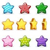 Ζωηρόχρωμα στιλπνά αστέρια κινούμενων σχεδίων καθορισμένα, ζωτικότητα παιχνιδιών Στοκ Εικόνες