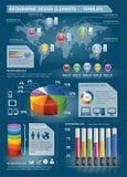 Ζωηρόχρωμα στοιχεία Infographic με τον κόσμο mapใ Στοκ Εικόνα