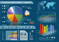 Ζωηρόχρωμα στοιχεία Infographic με τον κόσμο mapใ Στοκ Φωτογραφία