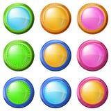 Ζωηρόχρωμα στρογγυλά κουμπιά, σύνολο Στοκ Φωτογραφίες