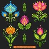 Ζωηρόχρωμα συμμετρικά λουλούδια στο σκοτεινό υπόβαθρο Διανυσματική απεικόνιση