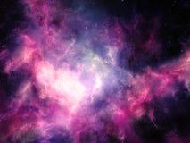 Ζωηρόχρωμα σύννεφα νεφελώματος με τα αστέρια στο βαθύ διάστημα στοκ εικόνα με δικαίωμα ελεύθερης χρήσης