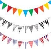 3 ζωηρόχρωμα τρίγωνα σημαιών Στοκ Εικόνα