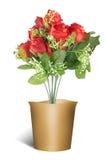 Ζωηρόχρωμα τριαντάφυλλα στα υπόβαθρα βαλεντίνων δοχείων Στοκ Φωτογραφία