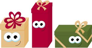 Ζωηρόχρωμα τυλιγμένα κιβώτια δώρων χαμόγελου με τα μάτια Όμορφο παρόν κιβώτιο με το τόξο Εικονίδιο κιβωτίων δώρων Σύμβολο δώρων Χ ελεύθερη απεικόνιση δικαιώματος