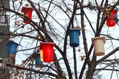 Ζωηρόχρωμα φανάρια που κρεμούν στο δέντρο Στοκ Εικόνες