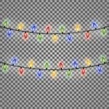 Ζωηρόχρωμα φω'τα Χριστουγέννων πυράκτωσης επίσης corel σύρετε το διάνυσμα απεικόνισης διανυσματική απεικόνιση