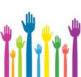Ζωηρόχρωμα χέρια με τα ευθέα δάχτυλα Στοκ φωτογραφίες με δικαίωμα ελεύθερης χρήσης